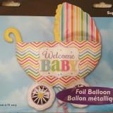 Balon Supershape - in forma de landou pentru bebelus