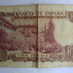 Bancnota veche Spania Madrid 100 pesetas, Cien Pesetas, 17.11.1970