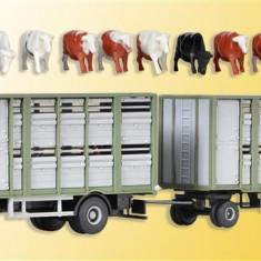 Camion MAN transport animale cu remorca KIBRI HO (1:87) 12248 - Macheta auto