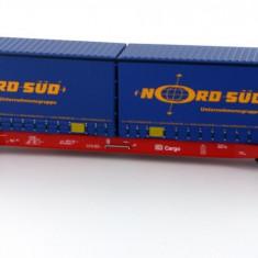 Vagon containere SGKKMS698 Nord Sud 2x20' Mehano 58792 HO - Macheta Feroviara Mehano, H0 - 1:87, Vagoane