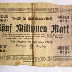Bancnota veche Germania 5000000 marci, Funf Millionen Mark, 13.08.1923