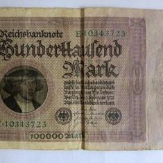 Bancnota veche Germania 100000 marci, Hunderttausend Mark, 1.02.1923