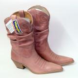 Cizme WRANGLER 3/4, piele naturala, culoare roz prafuit, stil cowboy, mas. 38-39