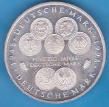 (1) MONEDA DIN ARGINT (925) GERMANIA - 10 MARK 1998, LIT. F, 50 ANI DE MARCA RFG, Europa