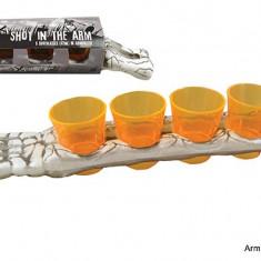 Pahare pentru shot - pe suport brat de schelet - Halloween
