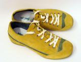 Pantofi sport din piele intoarsa si captusiti., 40, Mustar, Wrangler
