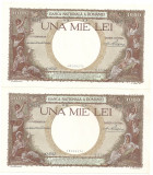ROMANIA 1000 LEI 1938 UNC 2 BUCATI SERIE CONSECUTIVA