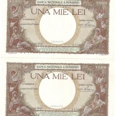 ROMANIA 1000 LEI 1938 UNC 2 BUCATI SERIE CONSECUTIVA - Bancnota romaneasca