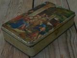 CUTIE VECHE CONFECȚIONATĂ DIN TABLĂ, DECORATĂ CU SCENĂ BIBLICĂ!