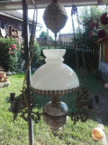 Antic lampadar opalina din majolica si elemente