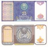 Bancnota Uzbekistan 25 si 50 Sum 1994 - P77-78 UNC ( set 2 bancnote )