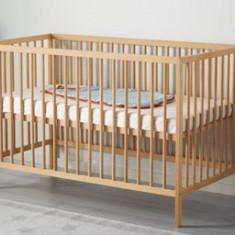 Vand patut bebe - stare perfecta - - Patut lemn pentru bebelusi Ikea, 120x60cm, Altele