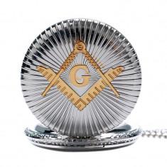 Ceas de buzunar emblema Francmasoneria culoare argintiu emblema aurie - Ceas de buzunar vechi