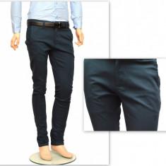 Pantaloni Slim Fit Turcoaz bumbac - Pantaloni barbati casual-eleganti PN21, Din imagine, Lungi