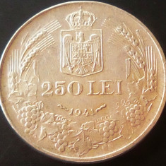 MONEDA ISTORICA ARGINT 250 Lei- ROMANIA anul 1941 *cjaCOD 27 - Nihil Sine Deo - Moneda Romania