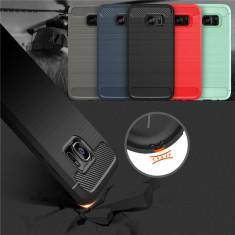 Bumper / Husa silicon cu textura de carbon pt Samsung Galaxy S7 / S7 edge