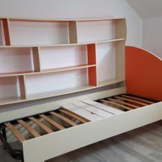 Vand set mobila de pal cu biblioteca, pat, dulap si birou - Dormitor complet