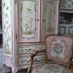 Comoda antica/vintage baroc UNICAT, sf sec XIX, pictata manual, chinoiserie, H 1, 5m, Sufragerii si mobilier salon, Chesterfield, 1900 - 1949