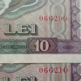 Lot/Set 2 bancnote consecutive 10 Lei- RS Romania 1966 *cod 527 - NECIRCULATE - Bancnota romaneasca