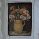 Flori in vas de lut, tablou in ulei pe carton semnat - Pictor roman, Impresionism