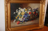 Impresionant cos cu flori de camp - Elena Muller Stancescu, Ulei, Art Deco