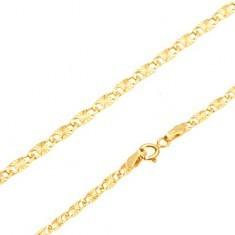 Brățară, aur galben de 14K - zale alungite plate, caneluri radiale, 195 mm