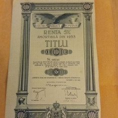 Obligatiune Romania, Renta amortibila 1933, 10 000 lei, 5%