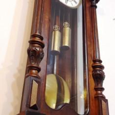 Ceas de perete cu pendula si greutati Gustav Becker 1880