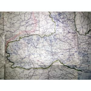 HARTA VECHE - ROMANIA SI HARTA ETAPELOR , IMORIMATA FATA /VERSO