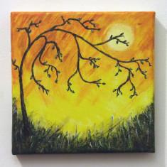 Tablou pictat in culori acrilice pe panza, 20x20 cm - Pictor roman, Peisaje, Altul