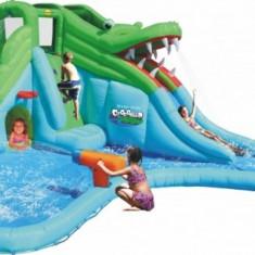 Saltea gonflabila Crocodil cu tobogane cu apa Happy Hop - Casuta copii