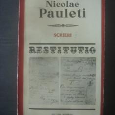 NICOLAE PAULETI - SCRIERI