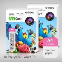 Hartie transfer termic A4 pentru tricouri albe - Imprimanta termice