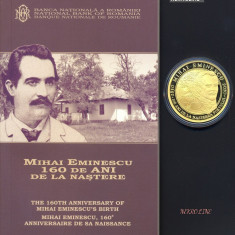 MONEDA AUR - 500 LEI 2010 PROOF - 160 ANI DE LA NASTEREA LUI MIHAI EMINESCU - Moneda Romania