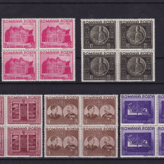 ROMANIA 1941, LP 143, FUNDATIA CAROL I BLOCURI DE 4 TIMBRE MNH - Timbre Romania, Nestampilat