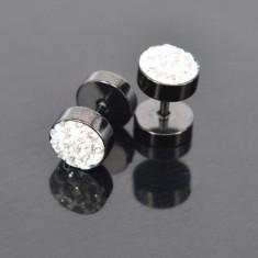 Cercei Baieti Barbati BARBELL - 8 mm Negru Cu Cristale, cercei fashion 2buc. - Cercei inox