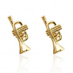 Butoni tema muzica  trompeta aurie gold  metalici + ambalaj  cadou