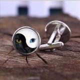 Butoni camasa model YIN si YANG cat eye + cutie simpla cadou, Inox