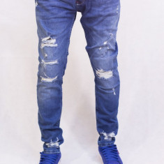 Blugi barbati conici albastri taiati rupti elastici fashion slim fit, Marime: 36, 38, Culoare: Albastru, Lungi, Prespalat