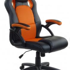 Scaun birou gaming directorial sport piele XRace Negru-Portocaliu - Scaun gaming