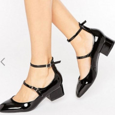 Incaltaminte ASOS toc gros 3 cm - Pantof dama Asos, Culoare: Negru, Marime: 39, Cu toc