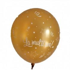 """Baloane latex """"La multi ani"""" Sidefate, Ivory/Gold - 11""""/28cm, Qualatex Q27078.Ivory-Gold"""