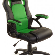 Scaun birou gaming directorial sport piele XRace Negru-Verde - Scaun gaming