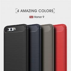 Bumper / Husa silicon cu textura de carbon pentru Huawei Honor 9 - Husa Telefon, Negru