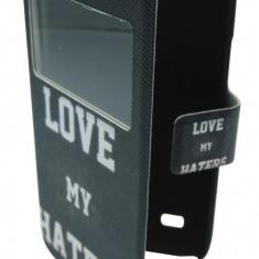 Husa tip carte neagra Love My Haters (cu decupaj frontal) pentru Samsung Galaxy S4 Mini i9190/i9195, Galaxy S4 Mini Dual Sim i9192 - Husa tableta cu tastatura