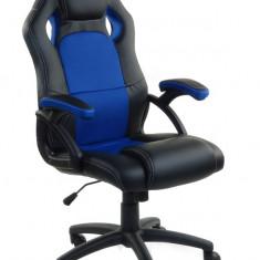 Scaun birou gaming directorial sport piele XRace Negru-Albastru - Scaun gaming