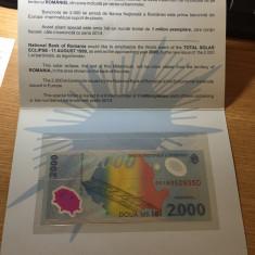 Vand bancnota 2000 LEI eclipsa seria 001A - Bancnota romaneasca