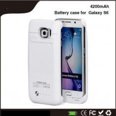 Baterie externa power case 4200 mah Samsung Galaxy S6 \ s6 edge alba, 4100 mAh