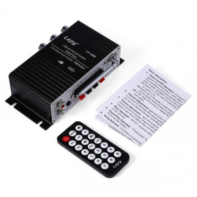 statie amplificare 2.1 2X15w 9v-12v auto masina telecomanda usb sd card foto