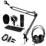 Auna CM001B, set microfon, adaptor microfon, microfon cu condensator, USB adaptor, negru